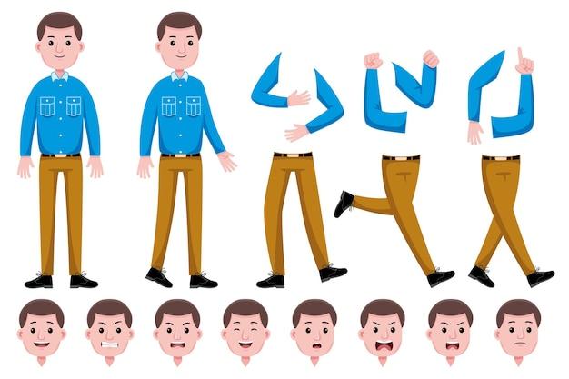 Conjunto de creación de personajes planos de hombre