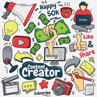 Conjunto de creador de contenido colorido doodle