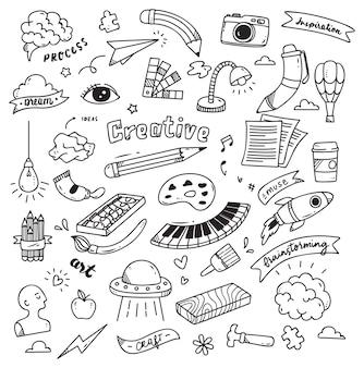 Conjunto de creatividad doodle aislado sobre fondo blanco
