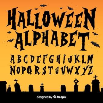 Conjunto creativo de alfabeto de halloween