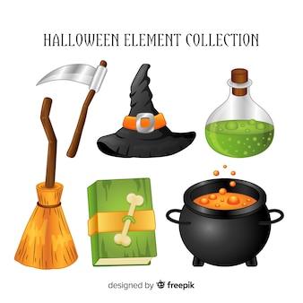 Conjunto creativo de elementos de halloween