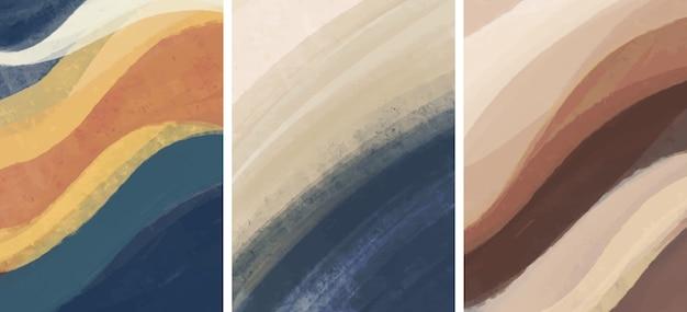 Conjunto de creativo minimalista pintado a mano. fondo de artes abstractas.