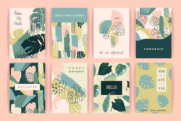Conjunto creativo de plantillas con plantas tropicales y antecedentes artísticos.