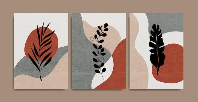 Conjunto de creativos minimalistas pintados a mano.