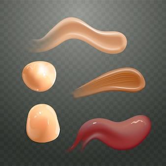 Conjunto de crema cosmética realista frotis producto de cuidado de la piel de diferentes colores corporales loción suave frotis textura de vector aislado sobre fondo transparente