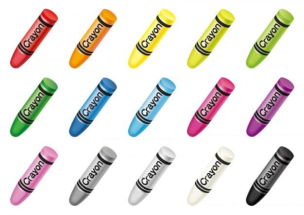 Conjunto de creyones coloridos aislados. ilustracion vectorial