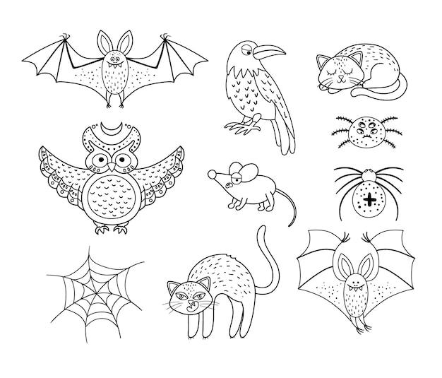 Conjunto de criaturas aterradoras vectoriales en blanco y negro. colección de iconos de personajes de halloween. ilustración de víspera de todos los santos de otoño lindo con murciélago, cuervo, gato, búho. página para colorear de la fiesta de samhain.
