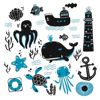 Conjunto de criaturas marinas y bocetos marinos