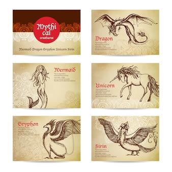 Conjunto de criaturas míticas