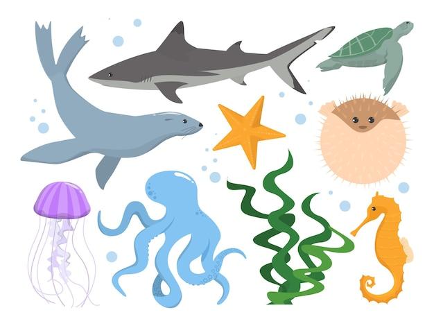 Conjunto de criaturas submarinas