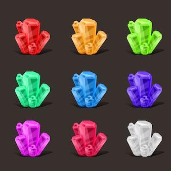 Conjunto de cristal. colores diferentes. piedra de cristal o piedra preciosa. piedra preciosa magia