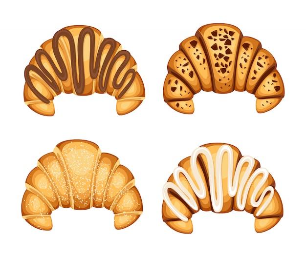 Conjunto de croissan con diferentes rellenos de crema de chocolate y sésamo en la ilustración superior sobre fondo blanco.