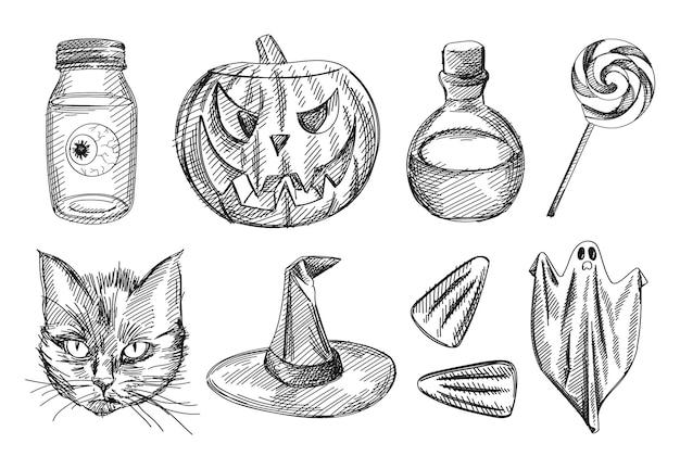 Conjunto de croquis blanco y negro dibujado a mano de atributos de halloween.