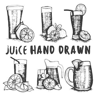 Conjunto de croquis de cristal de zumo de fruta dibujados a mano.