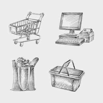 Conjunto de croquis dibujado a mano de atributos de supermercado. el juego incluye caja registradora, computadora de efectivo, canasta de plástico, bolsa con productos, carrito de compras