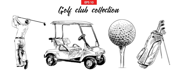 Conjunto de croquis dibujado a mano de objetos de golf