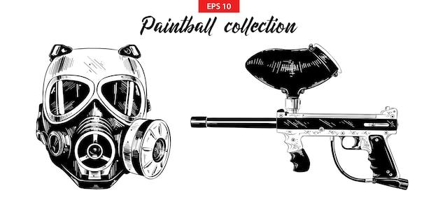 Conjunto de croquis dibujado a mano de pistola de paintball y máscara