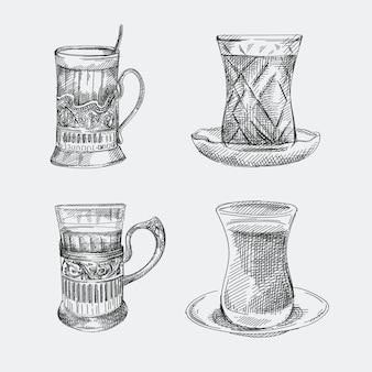 Conjunto de croquis dibujado a mano de vasos de té. dos vasos nacionales como pera utilizados en la cultura de azerbaiyán y dos vasos en un soporte para vasos de té utilizados en el período soviético.