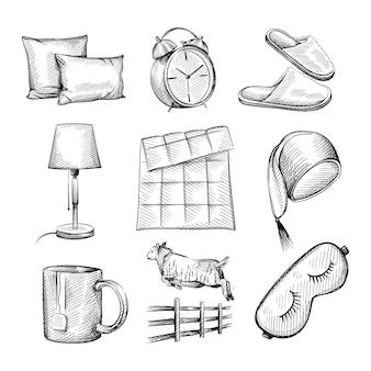 Conjunto de croquis dibujados a mano de atributos para la hora de dormir.