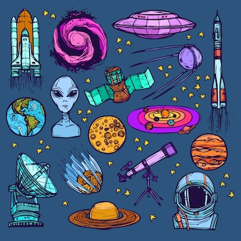 Conjunto de croquis espacial coloreado.
