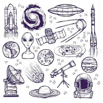 Conjunto de croquis de espacio