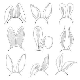 Conjunto de croquis de las orejas del conejito de pascua. . felices pascuas.