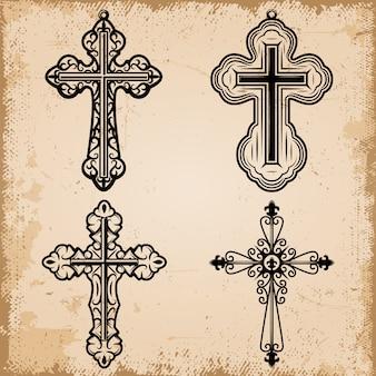 Conjunto de cruces religiosas decorativas vintage