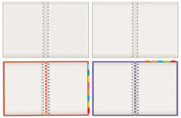 Conjunto de cuadernos en blanco sobre fondo blanco.