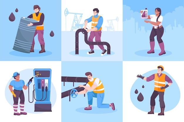 Conjunto de cuadrados de la industria petrolera con símbolos de oleoducto ilustración vectorial aislada plana