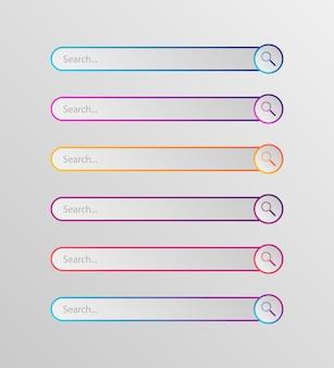 Conjunto de cuadro de búsqueda moderno en estilo plano