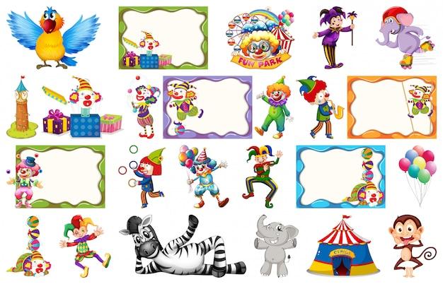 Conjunto de cuadro de circo.