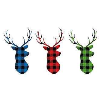 Conjunto de cuadros de búfalo con cabeza de ciervo ciervo de cuadros de búfalo de navidad