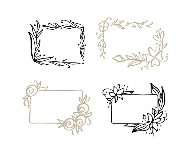 Conjunto de cuadros dibujados a mano con hojas de primavera
