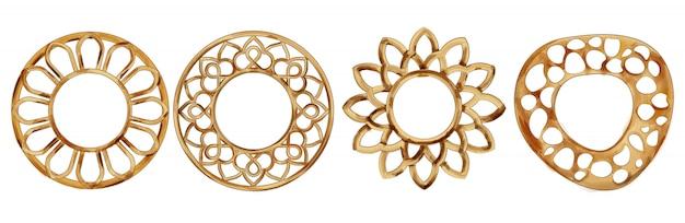 Conjunto de cuadros en forma de círculo y flor de acuarela
