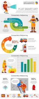 Conjunto de cuadros de infografía concepto de servicio de bomberos y estadísticas
