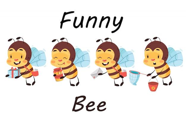 Conjunto de cuatro abejas de entrega en fondo blanco aislado. abeja linda cartero con presente, letras, miel y red con cubo. ilustración de personaje de niños.