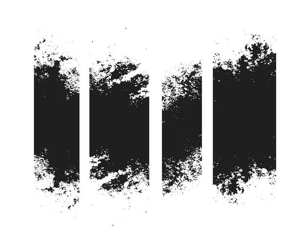 Conjunto de cuatro banner de textura de trazo apenado sucio