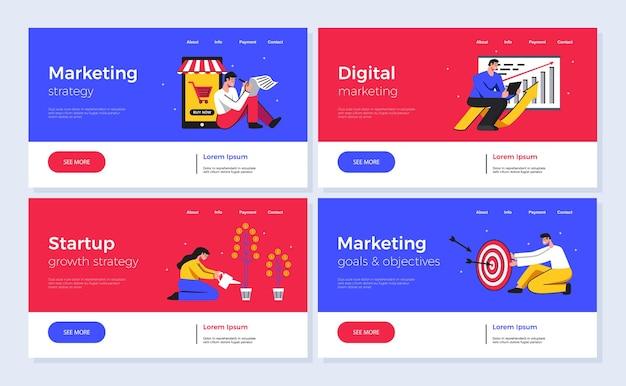 Conjunto de cuatro banners horizontales de colores para marketing digital y puesta en marcha