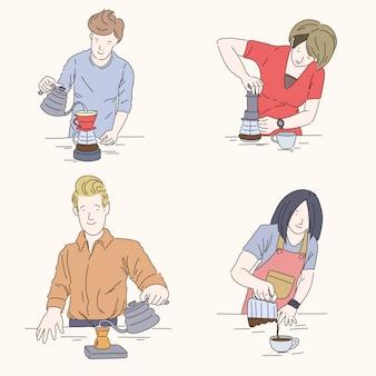 Conjunto de cuatro baristas, cerveza alternativa, aeropress, café pourover, ilustración dibujada a mano