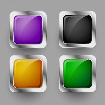 Conjunto de cuatro botones cuadrados redondeados brillantes