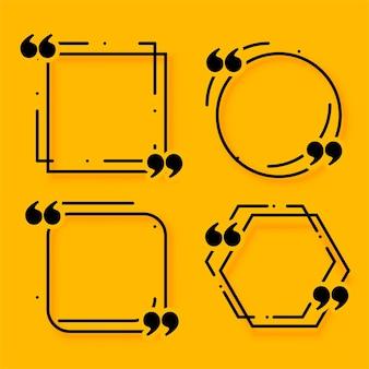 Conjunto de cuatro cajas de cotización de estilo de línea de memphis