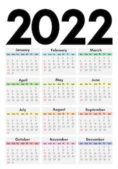 Conjunto de cuatro calendarios para 2022 aislado en un fondo blanco. de domingo a lunes, plantilla de negocios. ilustración vectorial