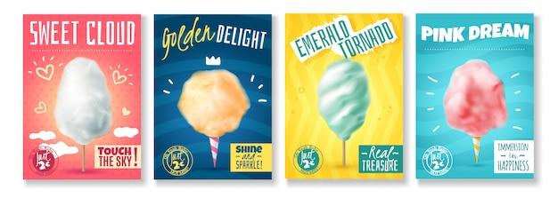 Conjunto de cuatro carteles de algodón de azúcar de caramelo realista aislado con coloridas composiciones de imágenes y texto ilustración vectorial