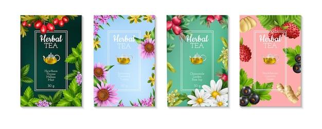 Conjunto de cuatro carteles realistas coloridos con ilustración de tipos de té de hierbas