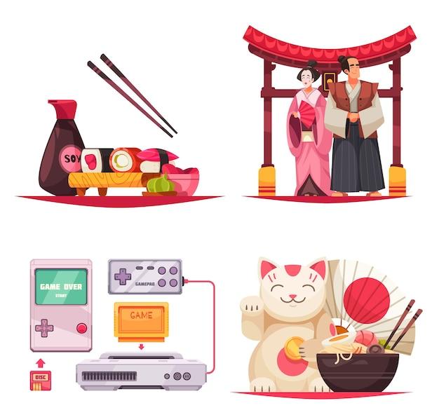 Conjunto de cuatro composiciones aisladas con estereotipos sobre japón, fideos de sushi, trajes tradicionales y consolas de juegos.