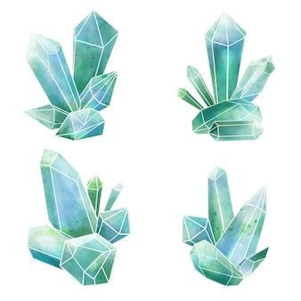Conjunto de cuatro composiciones de gemas en tonos azules, ilustración acuarela dibujada a mano
