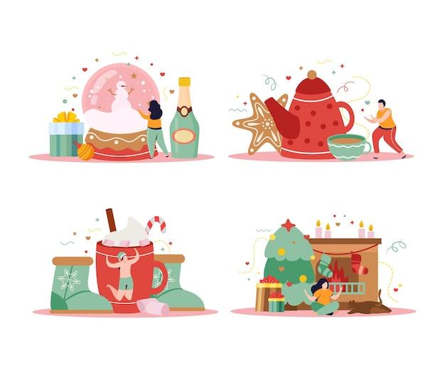Conjunto de cuatro composiciones de invierno feliz aislado con regalos y champán con personas