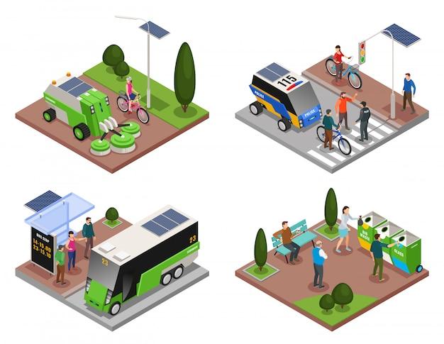 Conjunto de cuatro composiciones isométricas 4x1 de ecología urbana inteligente con vehículos eléctricos, contenedores de basura y personas