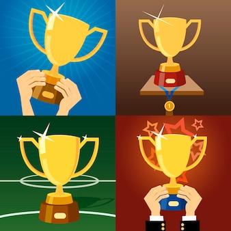 Conjunto de cuatro copas o trofeos de oro vector