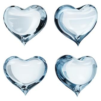 Conjunto de cuatro corazones opacos en colores celestes